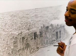Stephen Wiltshire drawing the NY Skyline