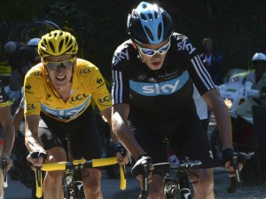 Chris Froome leads Bradley Wiggins up a mountain, helping pace the Team Sky star. Source: Sky Sports
